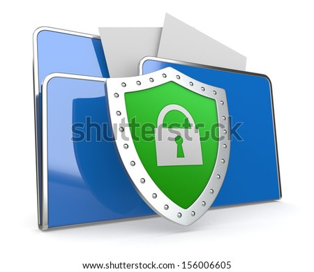 one computer folder with a shield (3d render) - stock photo