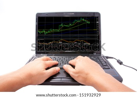 one computer notebook with doji graph and indicator