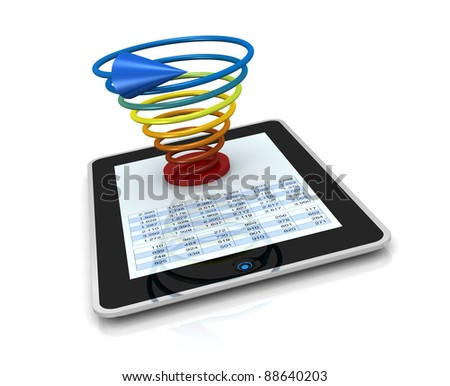 one computer tablet showing a spreadsheet with a 3d charts over it (render)