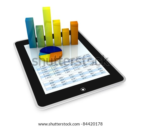 one computer tablet showing a spreadsheet with some 3d charts over it (render) - stock photo