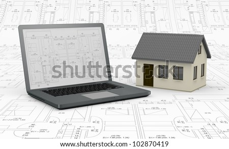one computer with a blueprint on the screen and a house; the background is a blueprint (3d render) - stock photo