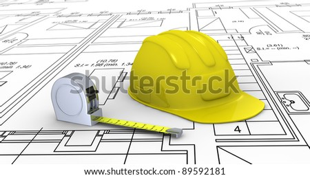 one construction helmet and a tape measure placed over a plan project (3d render) - stock photo