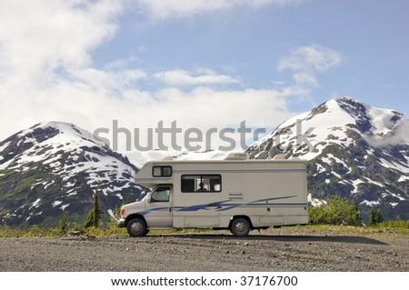 one cool campsite - stock photo