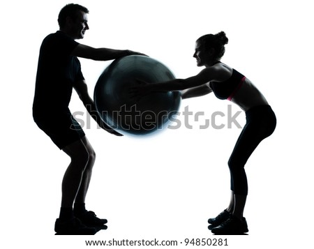 one couple man woman exercising workout aerobic fitness posture full length silhouette on studio isolated on white background - stock photo
