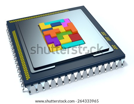 one CPU on white background, the cpu is without the cover and there are some colored puzzle blocks (3d render) - stock photo