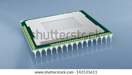 one cpu or gpu for computers and other electronics devices (3d render)