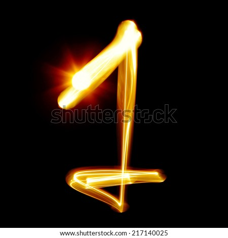One - Created by light numerals over black background  - stock photo