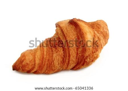 One croissant: one croissant shot on white background - stock photo