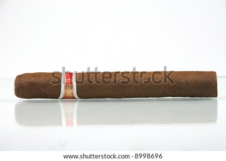 one cuban cigar with reflection in white background - stock photo