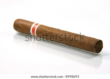 one cuban cigar with reflection in white background perspective
