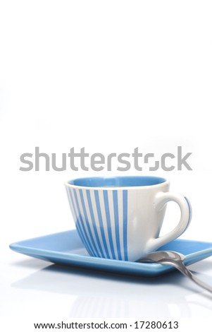 one cup of coffee isolated on white - stock photo