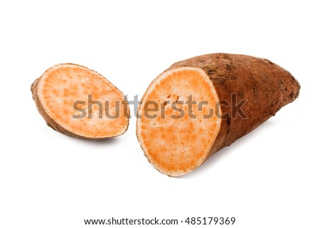 one cut through sweet potato isolated on white background