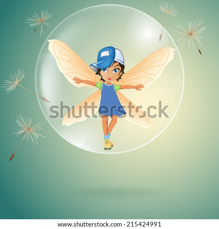 One cute little fairy in transparent soap bubble surrounded by dandelion seeds. - stock photo