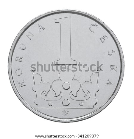 One Czech Crown coin isolated on white background