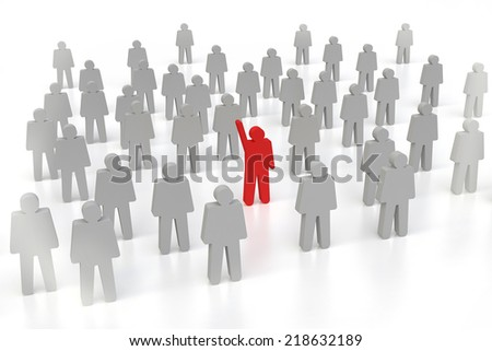 one 3d human stand out of the crowd - stock photo