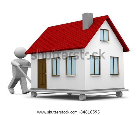 One 3d man that carry a house with a trolley - stock photo