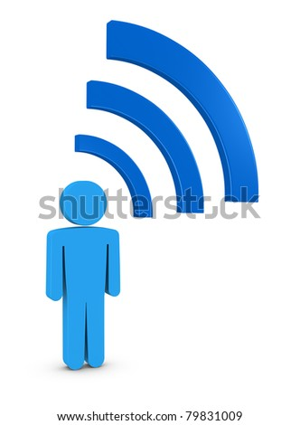 one 3d man with symbol of wifi connection, concept of the always connected generation (3d render) - stock photo