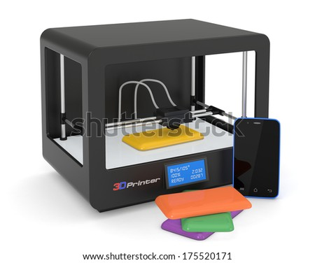 one 3d printer with a smartphone and some colored covers (render) - stock photo