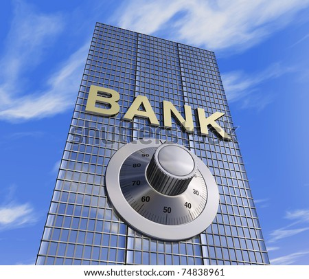 one 3d render of a bank headquarter with a safe dial coder. concept of security - stock photo