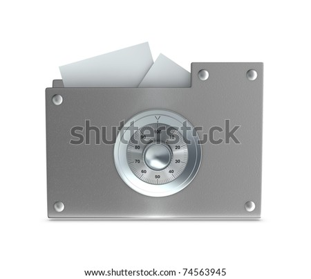 One 3d render of a computer folder designed to seem a safe. Concept of protection of digital data