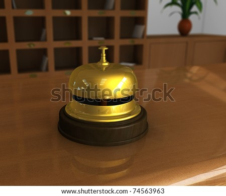 One 3d render of a hotel reception with a close up of a bell