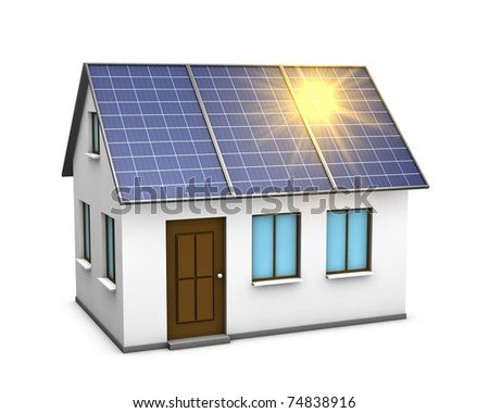 One 3d render of a house with solar panels on the roof and the sunlight reflecting on them - stock photo