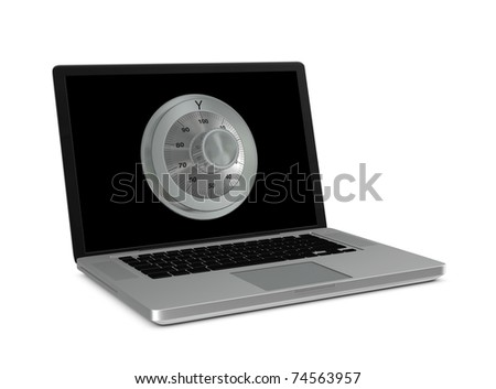 One 3d render of a laptop with a combination wheel. Concept of protection of digital data