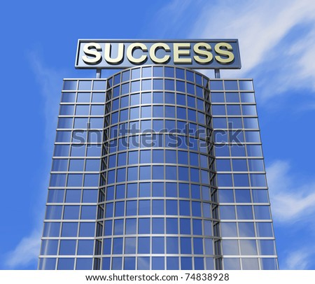 One 3d render of a skyscraper and a poster with the success word on the roof - stock photo