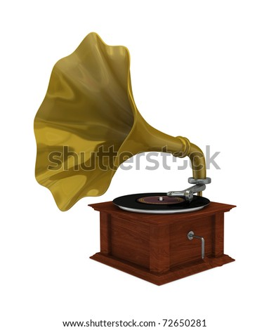 one 3d render of an old gramophone