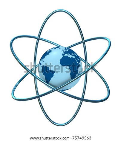 one 3d render of the atom symbol with a globe in the middle - stock photo
