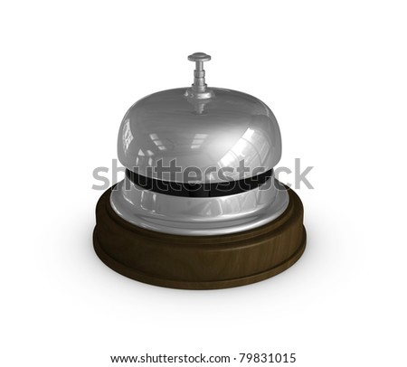 one 3d render of the bell used at the hotel reception - stock photo