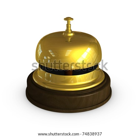 one 3d render of the golden bell used at the hotel receptions - stock photo