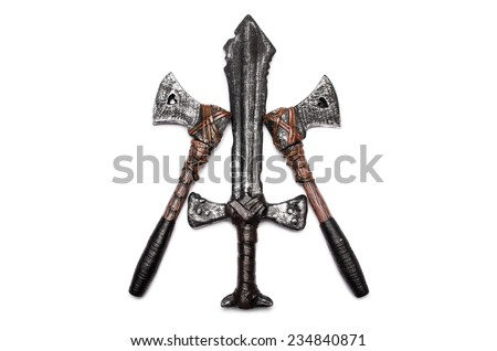 One dagger and two axes isolated on white - stock photo