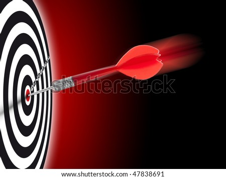 one dart hit it's target on a red background, concept for success - stock photo