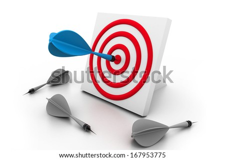 One dart hitting the target - stock photo