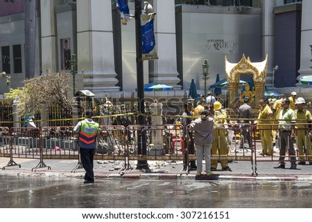 One day after bomb explosion in Ratchaprasong Intersection on August 18, 2015 in Bangkok, Thailand. Explosion on August 17, 2015 at 6:55PM, Killing 23 people in the area. - stock photo