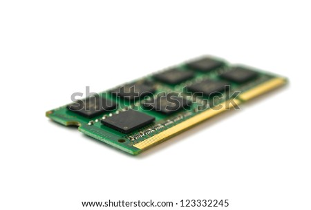 One DDR RAM stick isolated on white background - stock photo