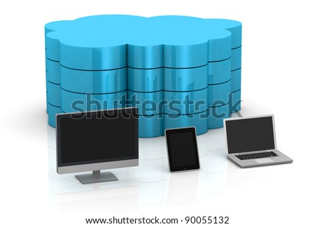 one desktop computer, tablet pc and notebook and a big cloud on background, concept of remote data storage (3d render) - stock photo