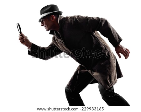one detective man criminal investigations investigating crime in silhouette on white background - stock photo