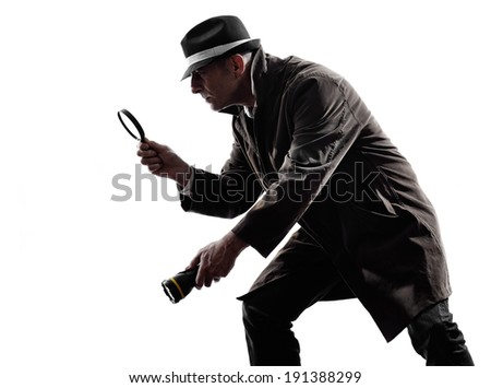 one detective man criminals investigations investigating crime in silhouettes on white background - stock photo