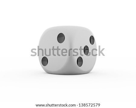 One dice rendered on white background - stock photo