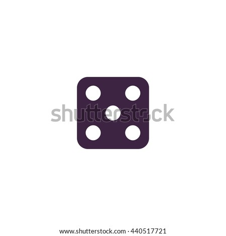 One dices - side with 5. Simple blue icon on white background - stock photo