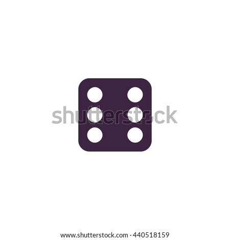One dices - side with 6. Simple blue icon on white background - stock photo