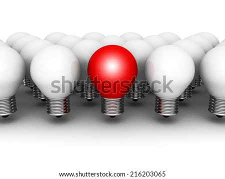 One different red light bulb in row of white ones. 3d render illustration