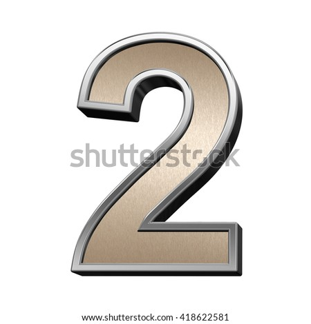 One digit from brushed copper with silver frame alphabet set, isolated on white. 3D illustration. - stock photo