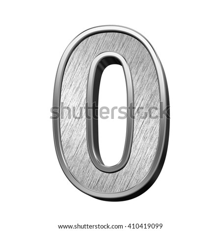 One digit from brushed stainless steel alphabet set, isolated on white. 3D illustration. - stock photo