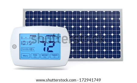 one digital programmable thermostat with a solar panel, concept of renewable energy (3d render) - stock photo