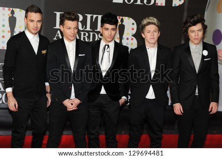 One Direction arrives for the Brit Awards 2013 at the O2 Arena, Greenwich, London. 20/02/2013 Picture by: Steve Vas - stock photo
