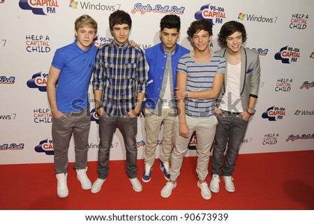 One Direction at the Jingle Bell Ball 2011 held in the O2 Arena, London.  04/12/2011 Picture by: Steve Vas / Featureflash - stock photo