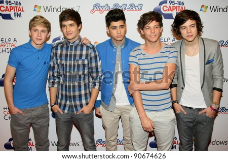One Direction at The Jingle Bell Ball, The O2 Arena, east London. 04/12/2011  Picture by: Alexandra Glen / Featureflash - stock photo
